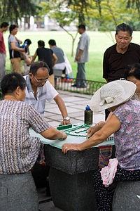 Mahjong dans un parc de Hangzhou, Chine